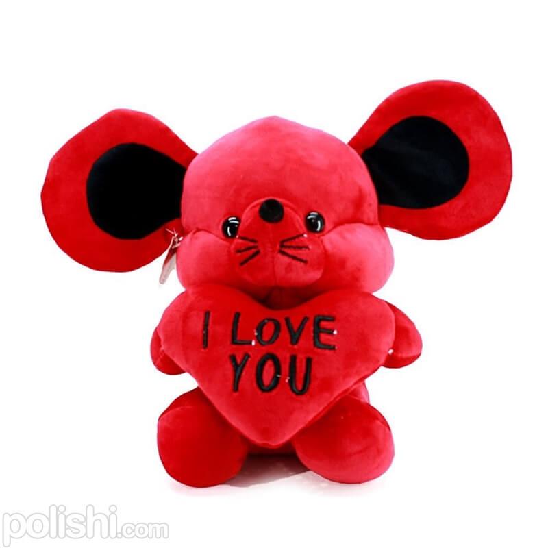 عروسک پولیشی موش عاشق قرمز