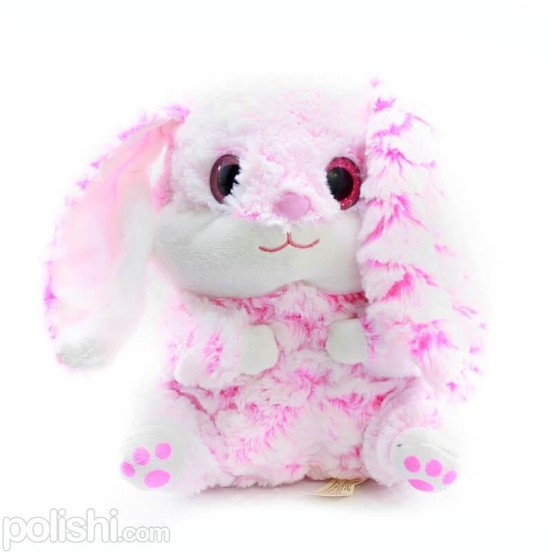 تصویر خرگوش پولیشی آناناسی صورتی با چشمای بزرگ