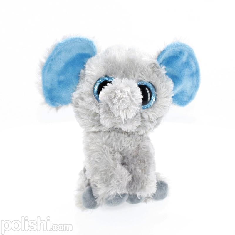 تصویر عروسک بچه فیل خاکستری چشم تیله ای TY